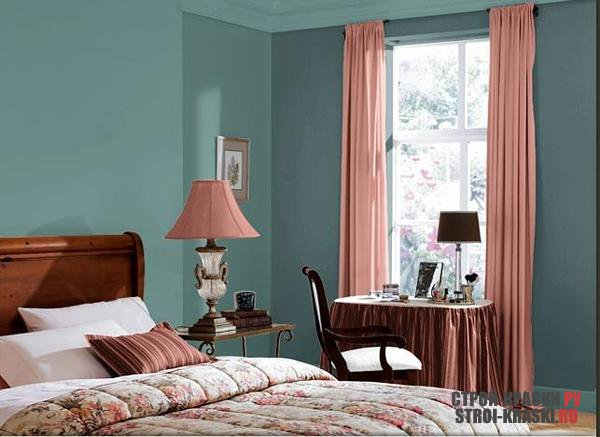 Покраска стен в спальне фото